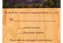 Wood Reply Cards / Reply cards made from thin wood veneer make for a very unique, but still affordable option. These can be ordered alone, or to complete your wooden invitation suite. Please contact us for a price quote! Sales@ucppromo.com, 970-282-9591