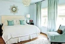 Spring Bedroom Updates / Guest bedroom duck egg blue and gold bedroom inspiration. #duckegg #gold #whitefurniture #beds