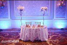 Blue Uplighting / White Rose Entertainment Weddings with Blue Uplighting