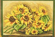 haft krzyżykowy  słoneczniki