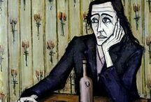 Bernard Buffet / This French painter lived from 1928 - 1999. It is thanks to him that I am - around 1960 - went an interesting in Art. His specific and recognizable method of painting appaels to me still.