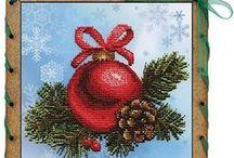 haft krzyżykowy świąteczny