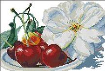 haft krzyżykowy owoce