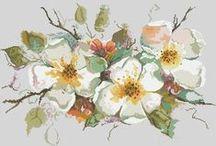haft krzyżykowy kwiaty różne