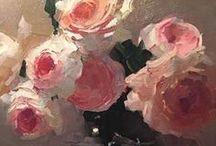 Gemalte Bilder mit Blumen