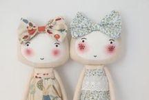 Handmade Fabric Doll  Pillow Nursery Decor / Handmade Plush Fabric Doll