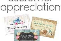 """Customer Appreciation Cards / Personalize and print your own """"thank you"""" cards for customers easily and affordably! Simply slip one in with each of your outgoing sales and keep 'em coming back again and again. Branding and marketing solutions by CyanSkyDesign on Zazzle and Etsy."""