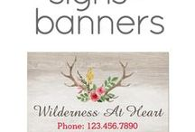 Vinyl Signs + Banners / Custom personalized vinyl signs, banners, and advertising signage for small businesses by Cyan Sky Design on Zazzle.