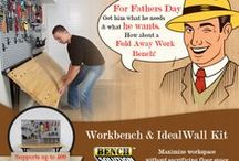 Father's Day Gifts / Gifts ideas for dad's who loves to use the garage as a workstation. Workbench, Tools, Accessories, and More.