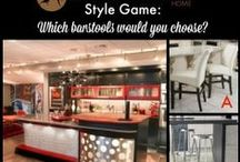Style Game - Barstools / You be the designer! Vote for the best barstool for this room by leaving a comment on the Style Game Pin Board or by leaving us a comment on our Facebook page: http://on.fb.me/1I683RX