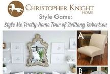 Style Game - Style Me Pretty Home Tour of Brittany Robertson of ohmydearblog.com / You be the designer! Which chair would you pair with this neutral toned living room? Vote for your choice on Facebook www.facebook.com/christopherknighthome or Twitter www.twitter.com/chrisknighthome or leave a comment here!