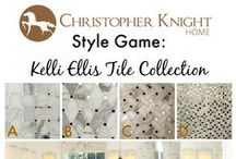 Style Game - Kelli Ellis Tiles / Pick a tile from the Kelli Ellis Collection and a barstool from the Christopher Knight Home Collection for this kitchen.
