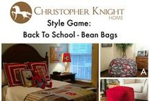 Style Game - Bean Bags / Bean bag chairs are comfortable, compact and efficient use of limited space, which makes them perfect for kids & college students alike! Which bean bag would you select for this child's room designed by Adventures in Decorating? http://adventuresindecorating1.blogspot.com/