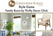 Style Game: Family Room by Thrifty Decor Chick / Which chair would you pair with this family room designed by Thrifty Decor Chick? www.thriftydecorchick.com