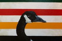 Art featuring the Hudsons Bay stripes. / Acrylic Paintings by Erika Schulz (AKA Tempest Studios) and others. I love the Hudsons Bay stripes. They are such an icon in Canada. For good or ill, they represent a big part of our history.