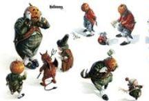 Print : Tout pour Halloween / Décorations, Affiches, Illustrations, masques, boites, assiettes, sacs à bonbons à  réduire - Miniature 1/12ème et maisons de poupées *  Posters, Illustrations for Witches reduction in miniature *