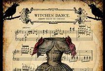 Print : Avis de fêtes - Invitations - Tickets & Partitions / Imprimables à réduire, pour les fêtes de sorcières, au 1/12ème et maisons de poupées