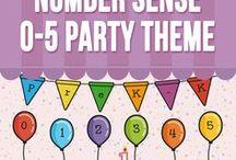 Number Sense 0-5 - Party Theme / This resource (121 pages) introduces number sense in kindergarten. This is extremely useful to review and practice (homework, morning work, etc) numbers from 0 to 5. Children  practice reading, counting, tracing and writing. This pack is also  for   kids who are struggling with number sense.