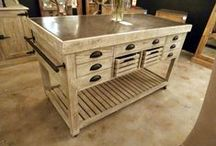 Kitchen Trolley Carts, Kitchen Islands & Carts / Rustic Kitchen Islands, Rustic and Industrial Kitchen Trolley Carts