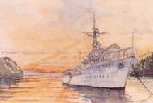 Koninklijke Marine / Schilderijen van schepen en/of vliegtuigen KM.