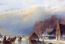 Andreas Schelfhout - Wintertaferelen / Andreas Schelfhout (Den Haag, 16 februari 1787 – aldaar, 19 april 1870) was een Nederlands landschapsschilder, etser en lithograaf.