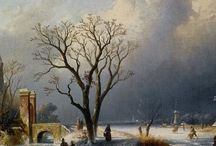 Charles Leickert - Wintertaferelen / Charles Henri Joseph Leickert (Brussel, 22 september 1816 — Mainz, 5 december 1907) was een Belgische kunstschilder, gespecialiseerd in Hollandse landschappen.
