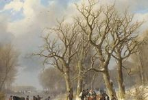 Johann Bernard Klombeck - Wintertaferelen / Johann Bernhard Klombeck (1815-1893) groeide op in het Duits-Nedelands grensgebied. Zijn ouders waren 'der Schneidermeister' Heinrich Klombeck uit Kleef en zijn vrouw Marianne Tinthoff, een halfzus van kunstschilder Matthias Tinthoff. Deze oom was het ook, die de jonge Johann de grondbeginselen van de schilderkunst bijbracht en hem de eerste schilderlessen gaf. In 1841 ging hij naar de kunstacademie van Barend Cornelis Koekkoek te Kleef.