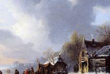 Jacobus van der Stok - Wintertaferelen / Jacobus van der Stok (gedoopt Leiden, 12 januari 1794 - Amsterdam, 4 mei 1864) was een Nederlandse schilder en tekenaar.