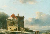 Adrianus Eversen - Wintertaferelen / Adrianus Eversen (Amsterdam, 13 januari 1818 - Delft, 1 december 1897) was een Nederlandse kunstschilder.  Hij werd in de 19e eeuw al gewaardeerd om het typisch Hollandse sfeerbeeld dat hij in zijn werk wist op te roepen. Als lid van Arti et Amicitiae behoorde hij tot de kunstenaarselite van zijn tijd.