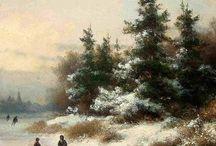 Lodewijk Johannes Kleijn - Wintertaferelen / Lodewijk Johannes Kleijn (1817-1897) Als leerling van Andries Schelfhout schilderde Kleijn veel winterlandschappen met schaatsende en sleeënde figuurtjes op spiegelend ijs.