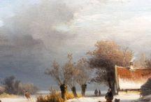 Johannes Franciscus Hoppenbrouwers - Wintertaferelen / Johannes Franciscus Hoppenbrouwers (1819-1866) was een leerling van de Haagse Akademie en van Andreas Schelfhout. Hij is vooral bekend om zijn romantische winterlandschappen en werkte veel samen met Charles Rochussen wat resulteerde in prachtige werken. In 1845 werd J.F. Hoppenbrouwers lid van de Koninklijke Akademie te Amsterdam.