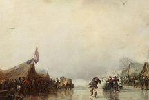 Carl Hilgers - Wintertaferelen / Carl Hilgers (Düsseldorf 1818-1890) was een Duitse landschapsschilder van de Düsseldorfse School