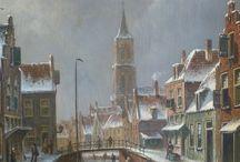 Oene Romkes de Jongh - Wintertaferelen / Oene Romkes de Jongh (Makkum 1812 - 1896 Amsterdam) woonde en werkte in Amsterdam tot 1884 en in Nieuwer-Amstel tot 1896. Oene Romkes de Jongh schilderde vooral stadsgezichten, waaronder die van Amsterdam en de Zuiderzeehavens. Bekend zijn, zijn winterse stadsgezichten. Daarnaast schilderde hij een enkel landschap, veelal met een boerderij aan een vaart.