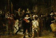 Rembrandt van Rijn - Art / Rembrandt Harmenszoon van Rijn (Leiden, 15 juli 1606 of 1607 – Amsterdam, 4 oktober 1669). Hij wordt beschouwd als een van de belangrijkste Hollandse meesters van de 17e eeuw. Rembrandt vervaardigde in totaal ongeveer driehonderd schilderijen. Zijn opmerkelijke beheersing van het spel met licht en donker, waarbij hij vaak scherpe contrasten (clair-obscur) neerzette om zo de toeschouwer de voorstelling binnen te voeren, leidde tot levendige scènes vol dramatiek.