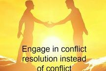 Conflict resolution / Conflict Resolution tools and tips to help you create a collaborative workplace and achieve long term resolutions to problems and conflict situations so that you are not dealing with them over and over again.