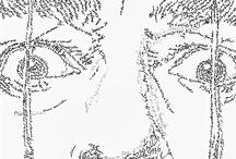 """WordsLines / """"WordsPortraits"""" calligraphic portraits. Lyrics, poetries and titles create their Authors' Faces. Ink on Paper  """"Ritratti a parole"""" dove testi di canzoni, poesie, titoli di opere, creano i volti dei loro autori. Inchiostro su carta"""