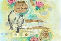 Collages, canvases and layouts / Beautiful mixed media pieces.