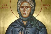 Byzantine hagiography / Byzantine icons hagiography of Saint Sofia who lived in the monastery of Klisoura in Greece