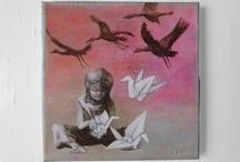 papier kranich / Unikat Drucke, Postkarten oder Prints mit dem Glücksbringer Papier Kranich. Origami Kraniche und Papier Vögel.