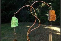 Amazing Wind Chimes / Wind chimes, windchimes, handcrafted from glass, beach glass, sea glass, copper, cedar, beach stone and driftwood.