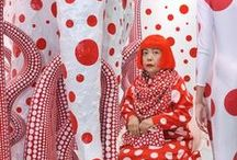 "Yayoi Kusama / ""One day I was looking at the red flower patterns of the tablecloth on a table, and when I looked up I saw the same pattern covering the ceiling, the windows and the walls, and finally all over the room, my body and the universe. I felt as if I had begun to self-obliterate, to revolve in the infinity of endless time and the absoluteness of space."""