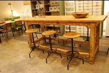 industriele tafels, sidetables & salontafels