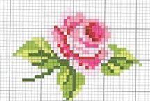 Цветы Цветочки Схемы  Вышивка Крестик / Несложные схемы вышивки крестом