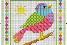 Птицы Птички Птенчики и другие крылатые Вышивка Схемы Крестик / Схемы вышивки крестиком простые с изображением птиц, бабочек, ангелочков