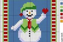 Рождество Зима Новый год Вышивка Схемы Крестик / Простые несложные схемы