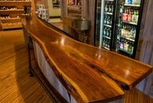 Bo Brooks Bartop / A solid slab of walnut was fabricated into a bartop for a Baltimore liquor store in Canton. Lighthouse Liquors sells growlers and offers samples of beer on tap at this bar!