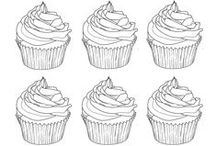 Cup cakes coloring pages / Yum yum yum ! We love it : cup cake & coloring page ! See more --> http://www.coloring-pages-adults.com/coloring-cup-cake/