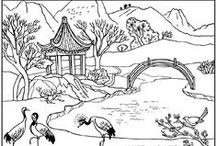 Landscapes Coloring pages / Coloring this landscapes will take you a long time !  See more --> http://www.coloring-pages-adults.com/landscapes/