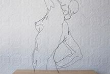 Line drawing and Wire sculptures