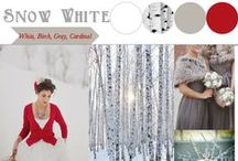 "Snow White / Winter ""Snow White"" inspired wedding! This is such a great December, January, or February theme. Perfect for our warm & rich mahogany barn! For this theme I would focus on white & birch and then add pops of red (don't overdo the red). You could use snow covered branches, cardinals, birch trees, holly berries, some pine trees, etc."